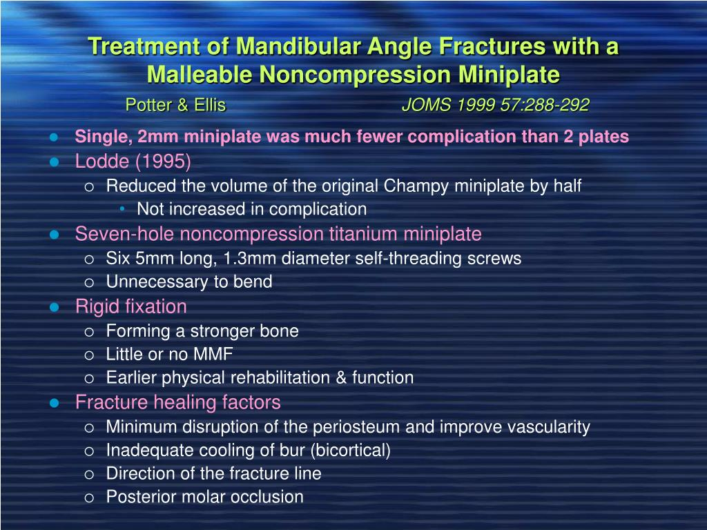 Treatment of Mandibular Angle Fractures with a Malleable Noncompression Miniplate