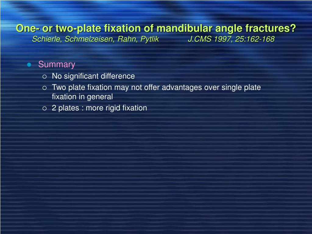 One- or two-plate fixation of mandibular angle fractures?