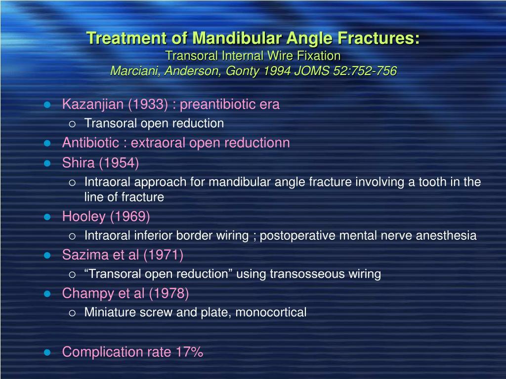 Treatment of Mandibular Angle Fractures: