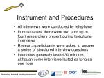 instrument and procedures