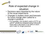 role of expected change in situation