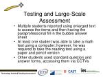 testing and large scale assessment