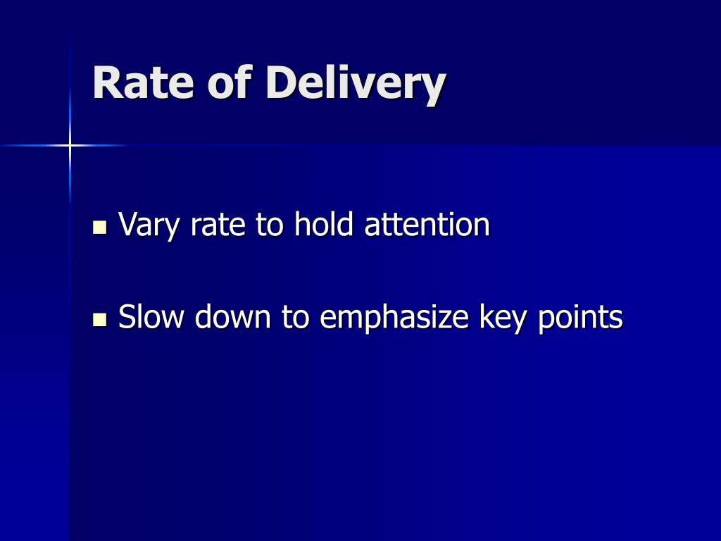 Rate of Delivery