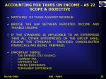 accounting for taxes on income as 22 scope objective