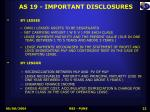 as 19 important disclosures
