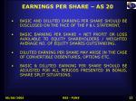 earnings per share as 20