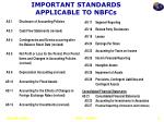important standards applicable to nbfcs