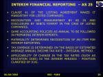 interim financial reporting as 25