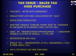 tax issue sales tax hire purchase