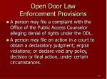 open door law enforcement provisions