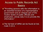 access to public records act basics