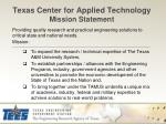 texas center for applied technology mission statement