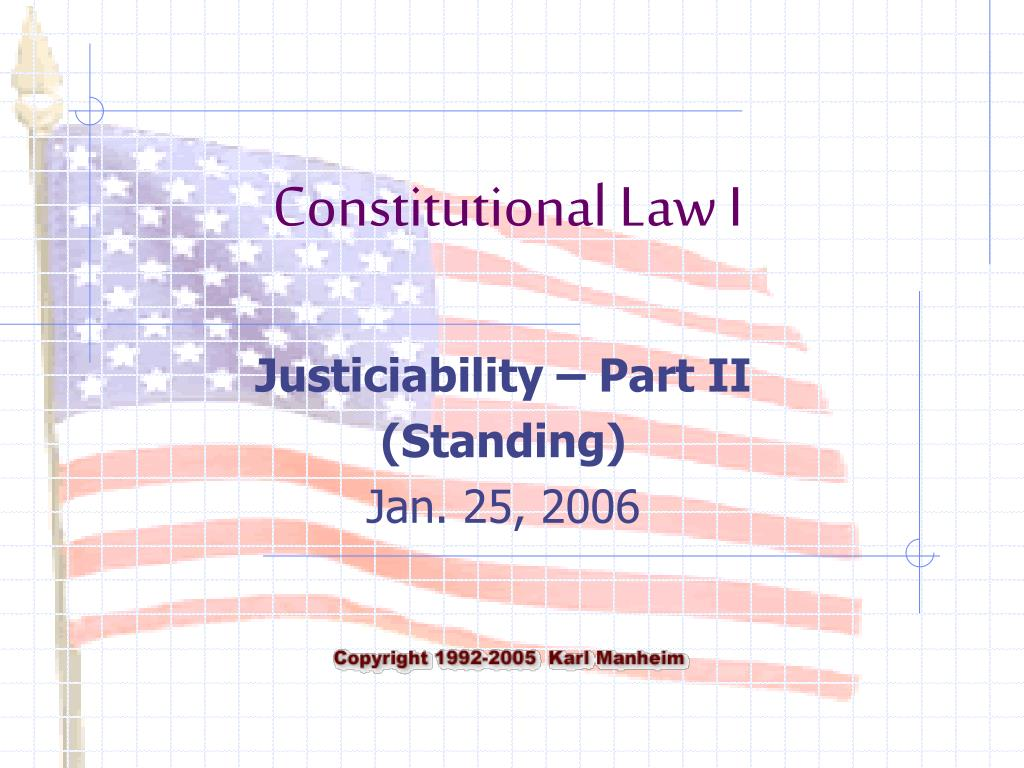 justiciability part ii standing jan 25 2006 l.