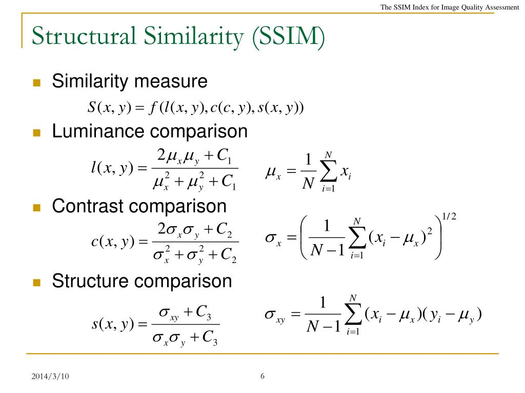 PPT - The SSIM Index for Image Quality Assessment PowerPoint