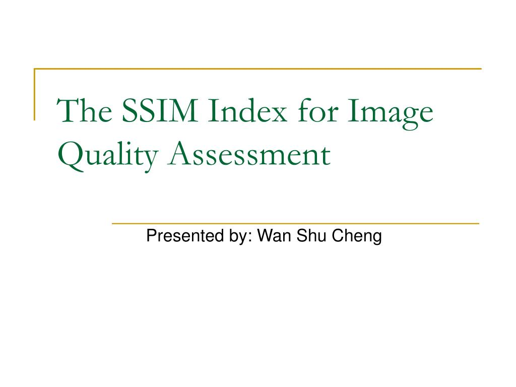 the ssim index for image quality assessment l.