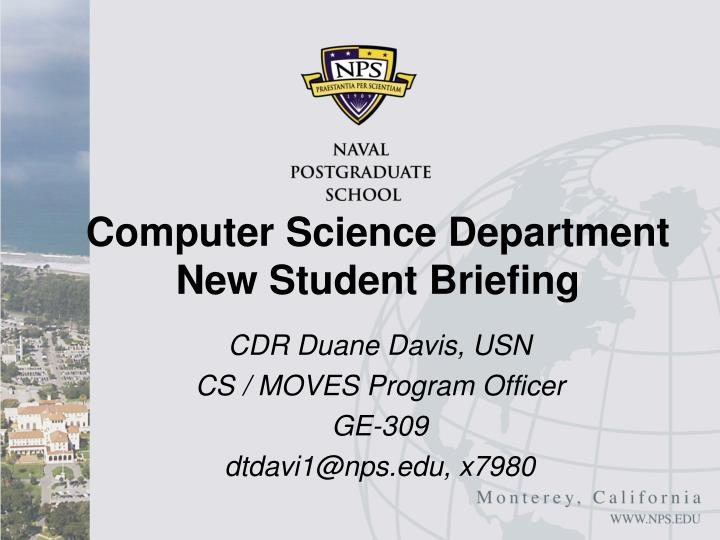 computer science department new student briefing n.