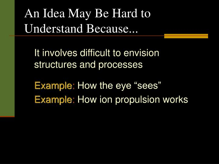 An Idea May Be Hard to Understand Because...