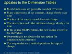 updates to the dimension tables