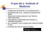 o que diz o institute of medicine