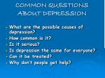 common questions about depression