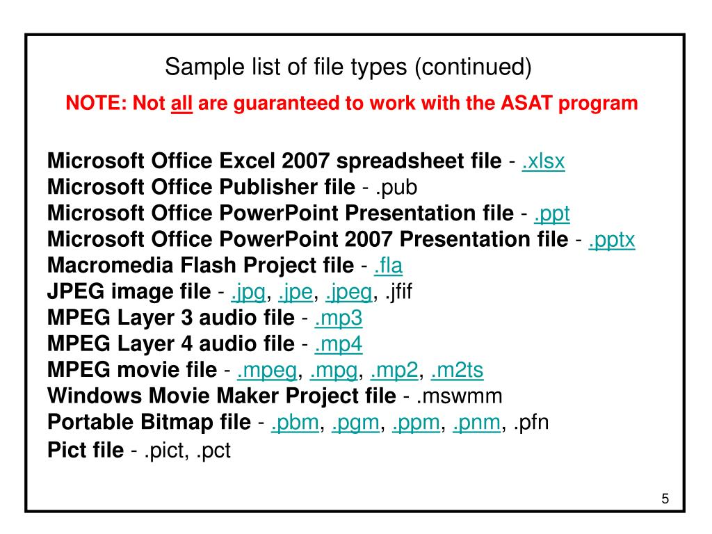 Sample list of file types (continued)