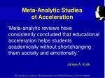 meta analytic studies of acceleration