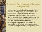 reasons for ohio department of education to request study