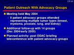 patient outreach with advocacy groups