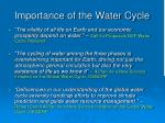 importance of the water cycle