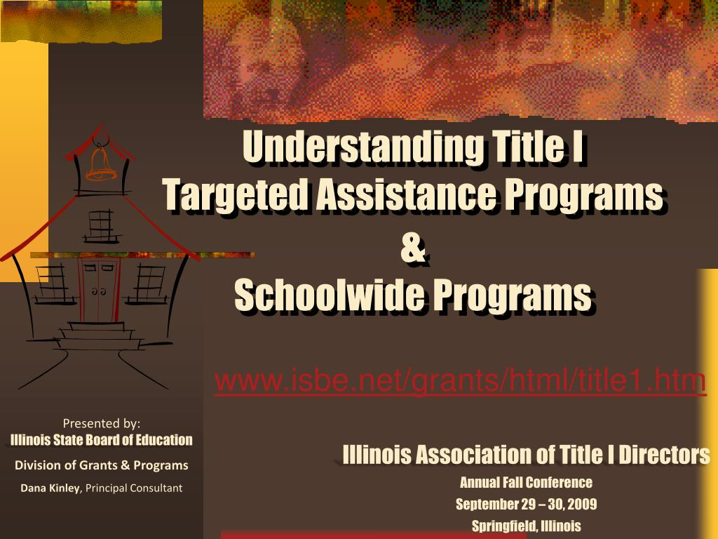 understanding title i targeted assistance programs schoolwide programs l.