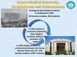 astana medical university establishment and achievements