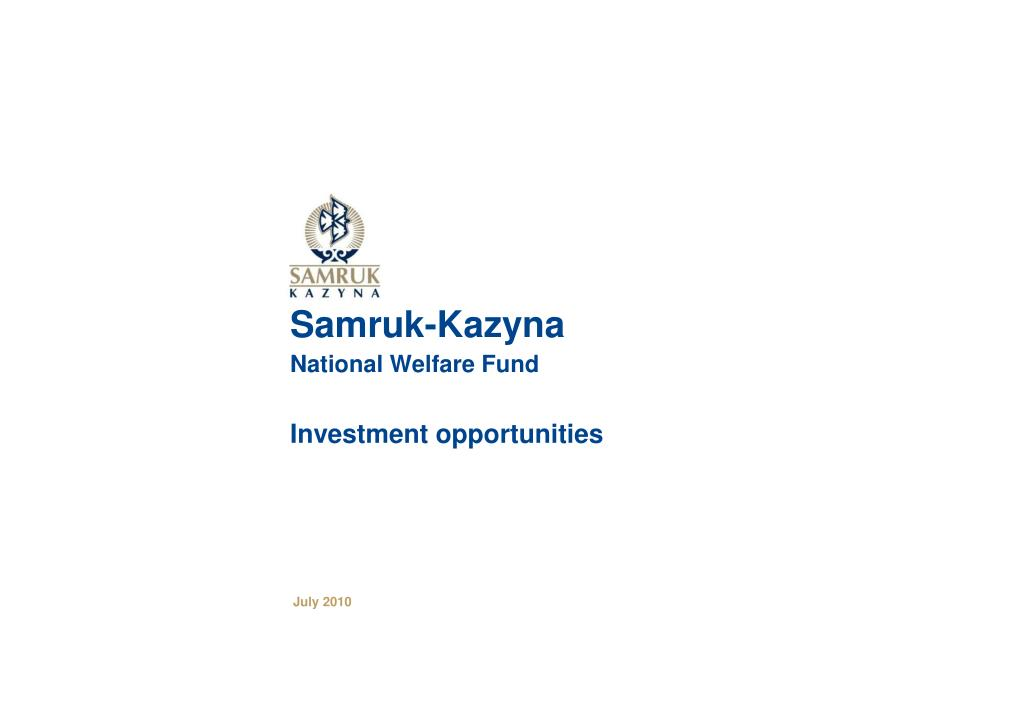 samruk kazyna national welfare fund investment opportunities l.