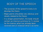 body of the speech