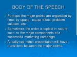 body of the speech11