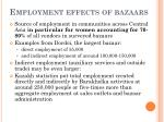 employment effects of bazaars