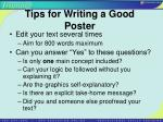 tips for writing a good poster