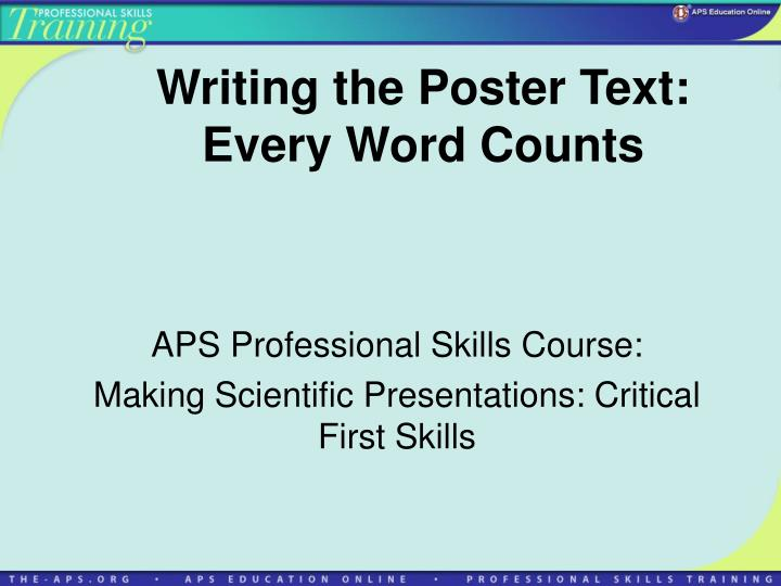 writing the poster text every word counts n.