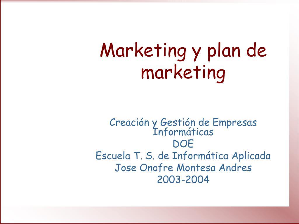 marketing y plan de marketing l.