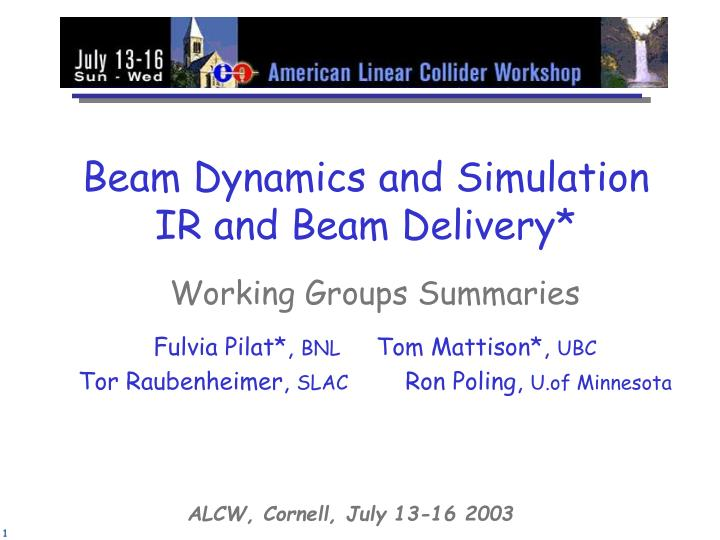 beam dynamics and simulation ir and beam delivery n.