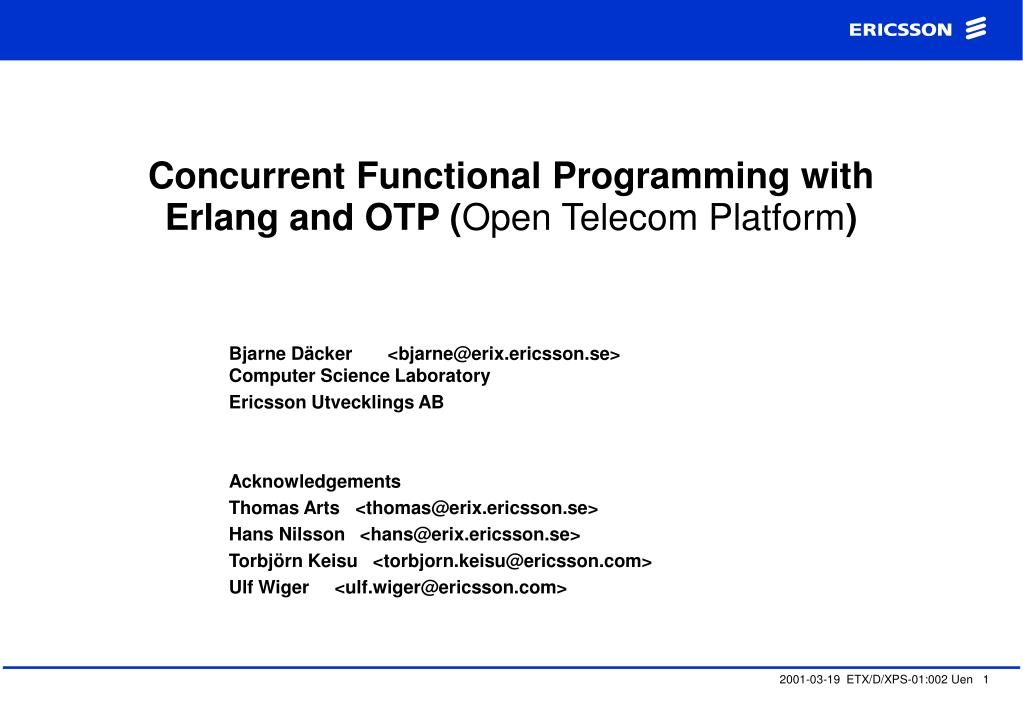 concurrent functional programming with erlang and otp open telecom platform l.