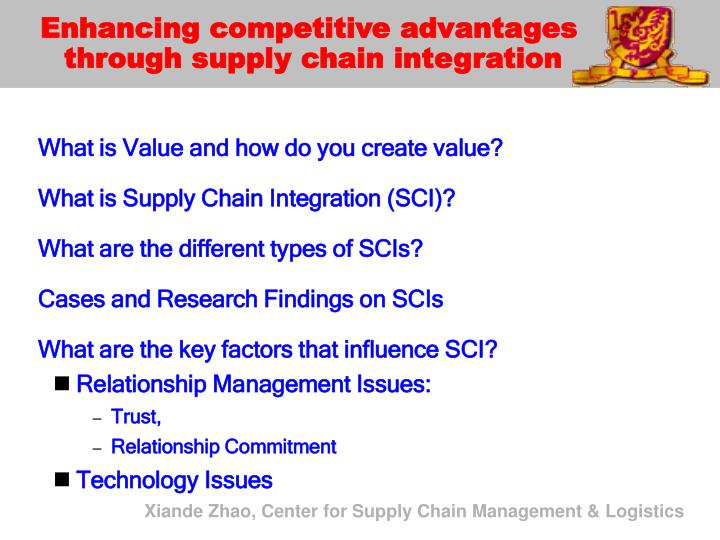 Enhancing competitive advantages through supply chain integration