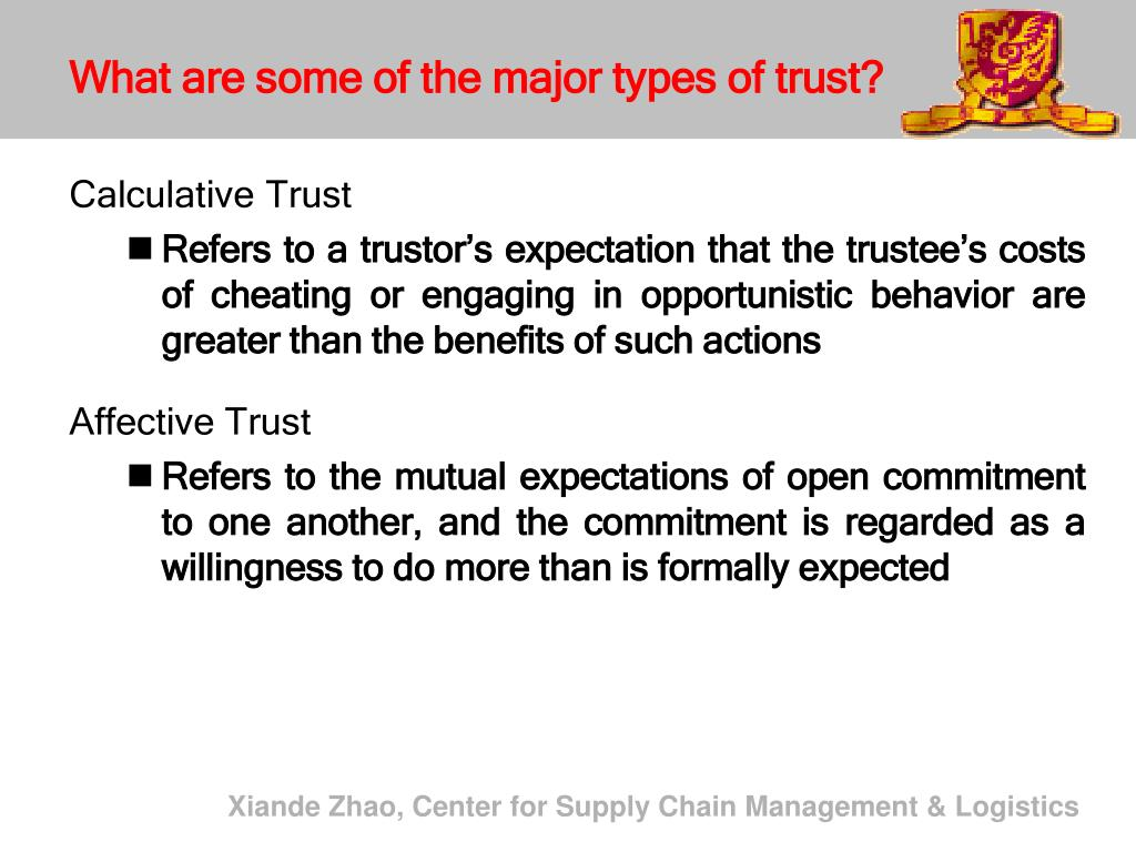 What are some of the major types of trust?
