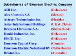 subsidiaries of emerson electric company