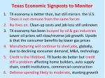 texas economic signposts to monitor