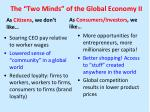 the two minds of the global economy ii