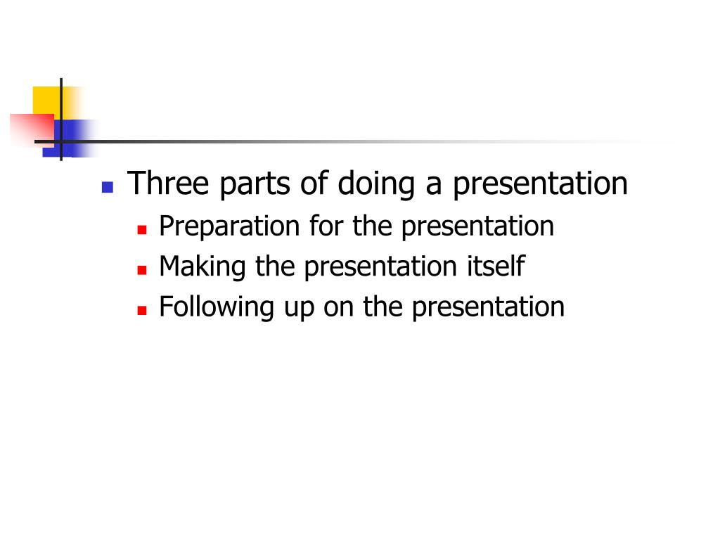 Three parts of doing a presentation