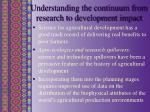 understanding the continuum from research to development impact