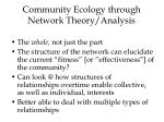 community ecology through network theory analysis