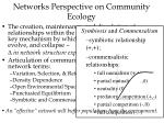 networks perspective on community ecology