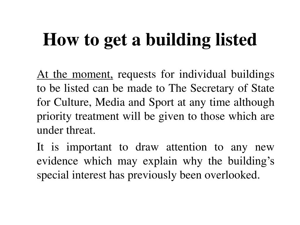 How to get a building listed